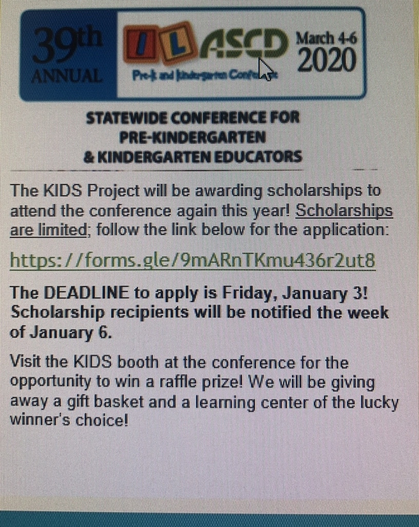 Great opportunity for Pre-K and K educators!